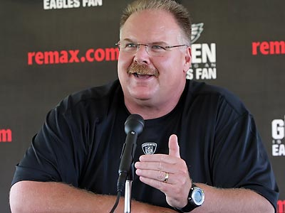Eagles coach Andy Reid made his first public remarks at training camp this afternoon. (Steven M. Falk/Staff Photographer)