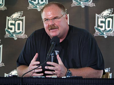 """We have a lot of new faces. It's important we can come together as a football team,"" Andy Reid said. (David M. Warren / Staff Photographer)"