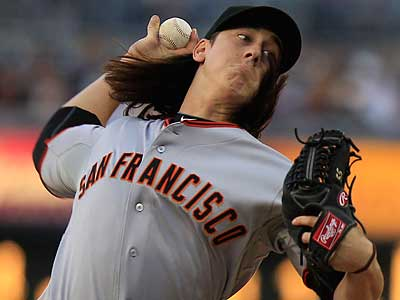 Giants ace Tim Lincecum will square off against Kyle Kendrick tonight at Citizens Bank Park. (Lenny Ignelzi/AP)