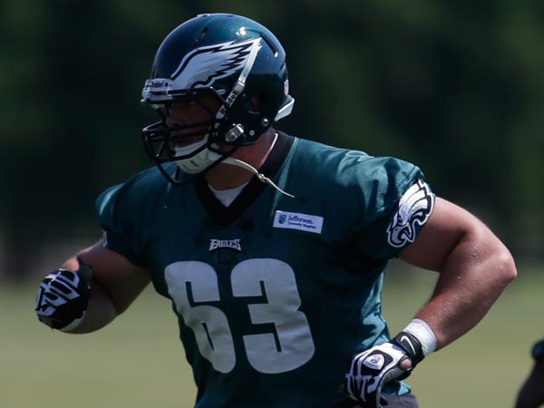 Eagles guard Danny Watkins practices at the team´s NFL football training facility, Friday, May 31, 2013, in Philadelphia. (Matt Rourke/AP file)