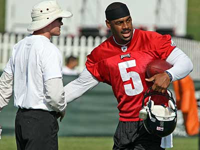 """We have a lot of young faces and a lot of new faces,"" said Eagles quarterback Donovan McNabb at training camp today. (Steven M. Falk / Staff Photographer)"