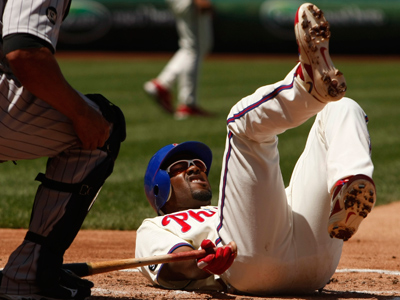 Jimmy Rollins is out of tonight´s lineup due to a bruised foot. (Ron Cortes / Staff Photographer)