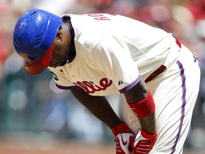 Jimmy Rollins will miss tonight´s game against the Diamonbacks with a bruised foot. (AP Photo/Matt Rourke)
