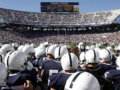 Penn State also announced that each uniform will feature a blue ribbon to support victims of child abuse. (Gene J. Puskar/AP file photo)