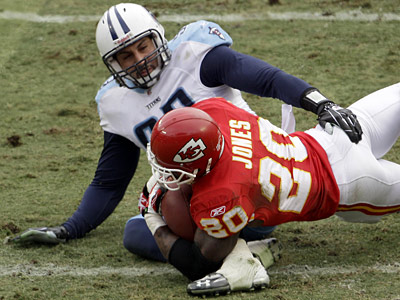 Jason Babin recorded 12.5 sacks for the Titans last season. (Associated Press)