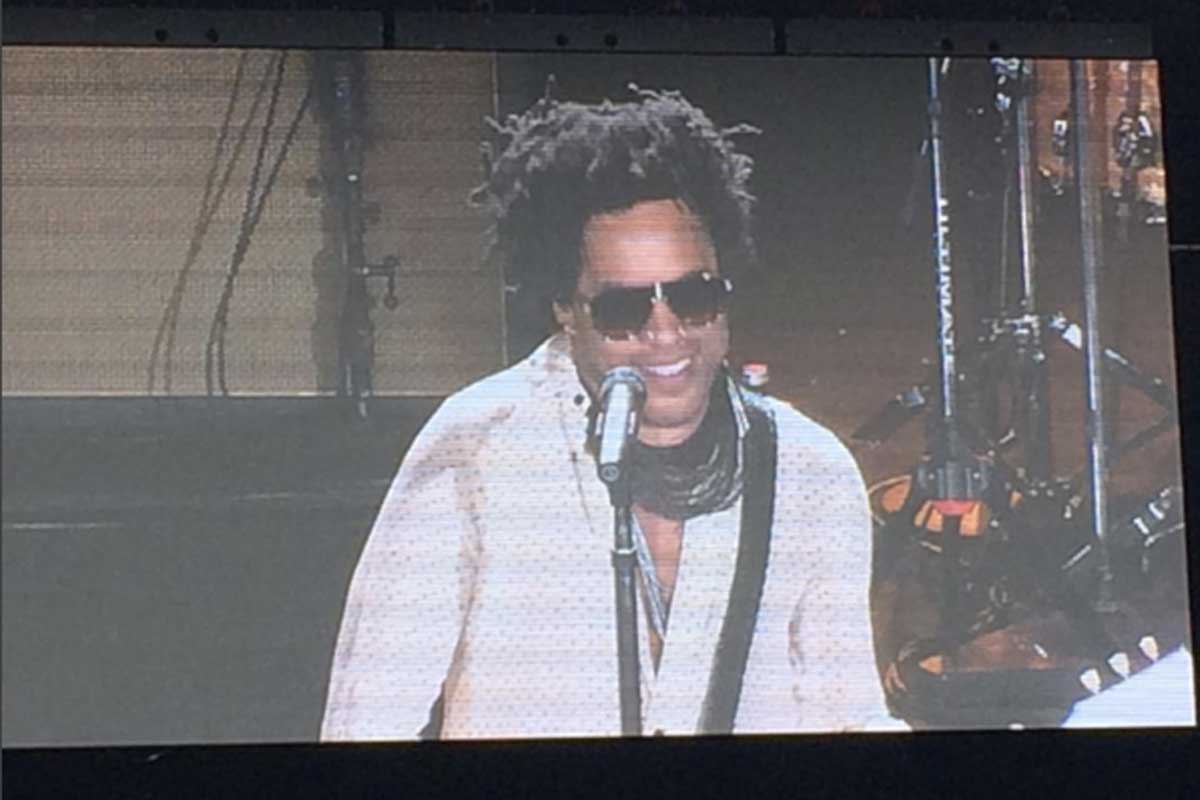 """Lenny Kravitz on the big screen at the """"Camden Rising"""" concert during the Democratic National Convention."""