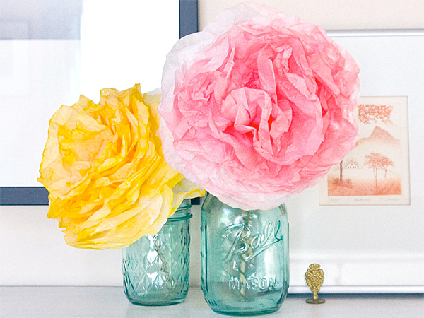 The next time you have a bunch of glass jars on hand, mix together this easy tinting paint that coats the outsides, creating really pretty containers.