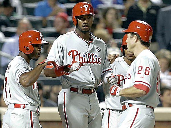 The Phillies´ Chase Utley, Jimmy Rollins, Domonic Brown and Ben Revere. (Frank Franklin II/AP)