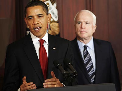 Barack Obama and John McCain previously agreed on many big issues, including immigration, Guantanamo Bay and global warming. (Gerald Herbert/AP file photo)