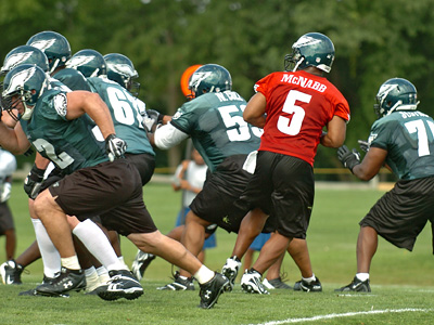 Eagles quarterback Donovan McNabb drops back to pass today behind a make-shift offensive line missing starting tackles Shawn Andrews and Jason Peters.  (Clem Murray / Staff Photographer)