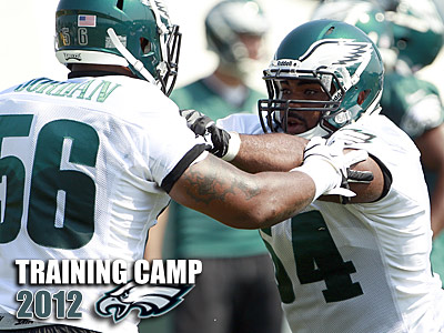 Eagles´ Brandon Graham, right, blocks Akeem Jordan during training camp drills.  (Yong Kim / Staff Photographer)
