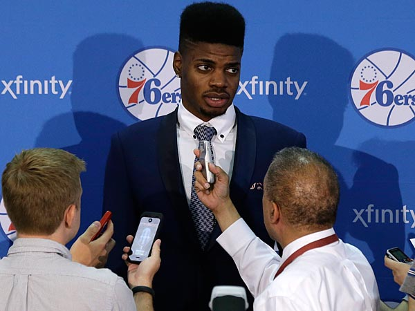 A shifty Nerlens Noel keeps his totally healed knee issues to himself to save energy for dancing. (AP Photo/Matt Rourke)