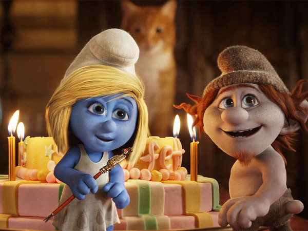 "Smurfette (Katy Perry), and Hackus (J.B. Smoove) in ""The Smurfs 2."" (Sony Pictures Animation)"