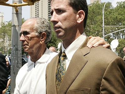 Former NBA referee Tim Donaghy and his father Gerry (left) leave Brooklyn Federal Court after sentencing on Tuesday. (John Taggart/For the Daily News)