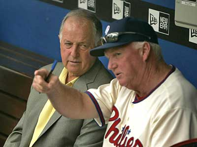 GM Pat Gillick (left) could not pull off a trade before today´s deadline, giving manager Charlie Manuel no additional help for the stretch run. (Ron Cortes / Inquirer)