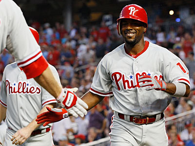 Jimmy Rollins hit an inside-the-park home run to help the Phillies rout the Nationals. (Carolyn Kaster/AP)