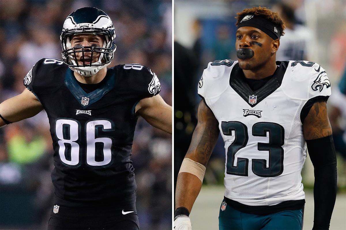 Eagles Zach Ertz (left) and Rodney McLeod.
