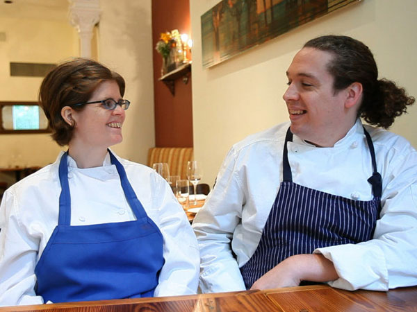 Pastry chef Kristin Wood and her husband, chef Andrew Wood, co-owners of Russet. (David M Warren / Staff Photographer)