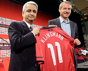 U.S. Soccer Federation president Sunil Gulati (left) and new national team coach Jürgen Klinsmann. (Mary Altaffer/AP)
