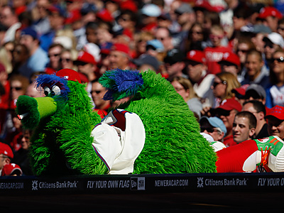 The Phanatic watches some baseball from the best seat in the house. (AP Photo/Matt Slocum)