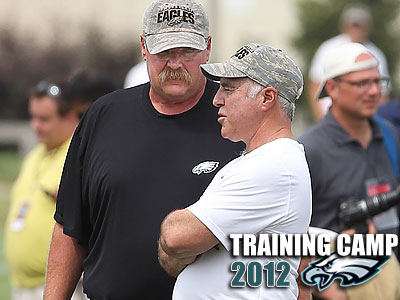 Eagles coach Andy Reid spent a few minutes chatting with owner Jeff Lurie on Wednesday. (Michael Bryant/Staff Photographer)