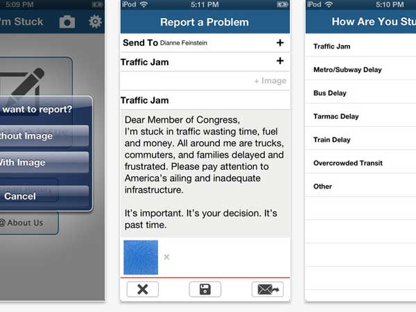 "Screenshot of the new ""I´m Stuck"" app from Building America´s Future"