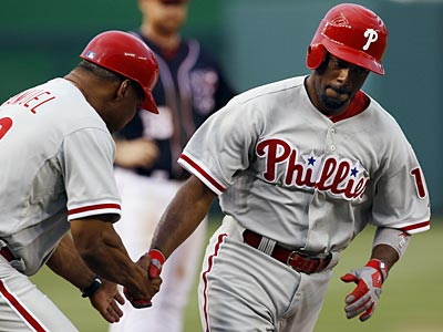 Jimmy Rollins hit two home runs during Wednesday´s win over the Nationals. (Carolyn Kaster/AP)