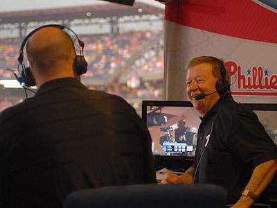 Tom McCarthy (left) and Chris Wheeler in the television broadcast booth at Citizens Bank Park. (Jarid Barringer/Staff Photographer)