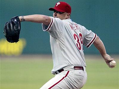 Phillies starter Brett Myers allowed two runs on four hits in six innings last night against the Cardinals. (Tom Gannam/AP)