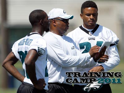 Nnamdi Asomugha, right, has been impressed by Dominique Rodgers-Cromartie´s speed.  (Yong Kim/Staff Photographer)