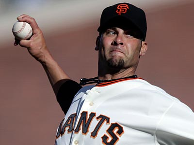 Giants pitcher Ryan Vogelsong is on his way to a career-high in innings, ERA and strikeouts this season. (Jeff Chiu/AP)
