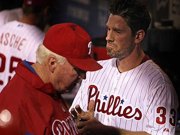 Phillies manager Charlie Manuel and pitcher Cliff Lee. (Ron Cortes/Staff Photographer)