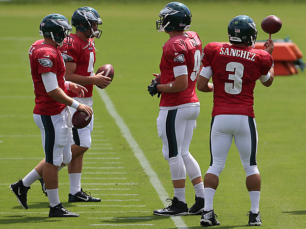 Eagles quarterbacks (from left to right): Matt Barkley, G.J. Kinne, Nick Foles and Mark Sanchez. (David Maialetti/Staff Photographer)