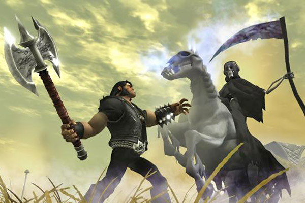 "In this video game image released by Electronic Arts, the character Eddie Riggs, voiced by actor Jack Black, left, is shown in a scene from the game, ""Brutal Legend."" (AP Photo/Electronic Arts)"