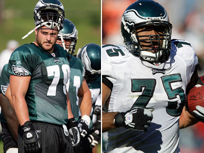 Eagles offensive guard Todd Herremans (left) was reportedly driving a van when it was pulled over in Lower Saucon Township early this morning. Police arrested his teammate, defensive end Juqua Parker, for possessing a small amount of marijuana. (Photos: David Maialetti / Staff Photographer)
