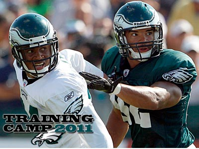 Nnamdi Asomugha (left) participated in his first practice as an Eagle. (Yong Kim/Staff Photographer)