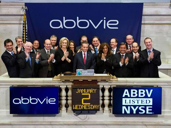 Richard Gonzalez, CEO of AbbVie Inc., rings the opening bell Wednesday at the New York Stock Exchange. (Ben Hider, 2012 NYSE Euronext)