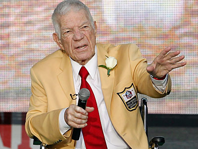 "Ed Sabol called his induction into the Pro Football Hall of Fame ""the impossible dream."" (Ron Schwane/AP Photo)"