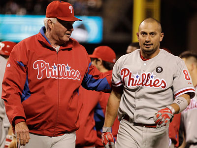 Shane Victorino said he clinched a suspension when he tackled Giants hitting coach Hensley Meulens. (Ben Margot/AP Photo)