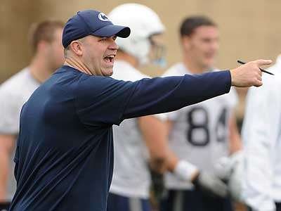 Penn State football coach Bill O´Brien gestures to his players during practice on Monday. (The Centre Daily Times/AP)
