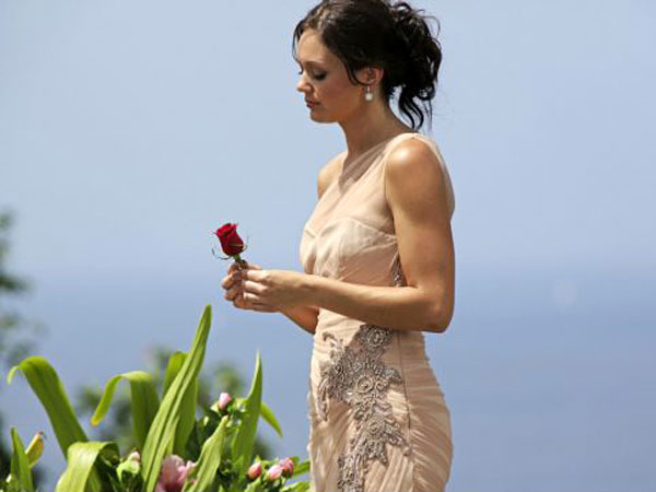 Bachelorette Desiree Hartsock contemplates her decision over the final rose on the Aug. 5 finale of the ABC reality TV series. (Fancisco Roman / ABC)