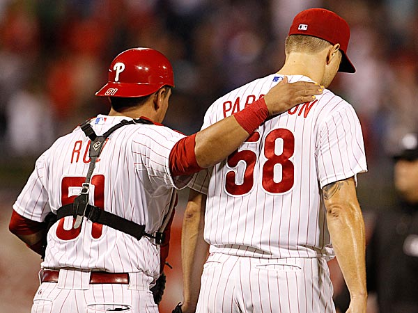 Phillies catcher Carlos Ruiz and closer Jonathan Papelbon. (Ron Cortes/Staff Photographer)