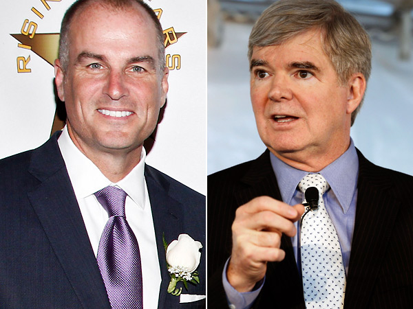 ESPN´s Jay Bilas and NCAA president Mark Emmert. (AP Photos)