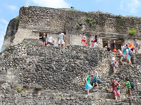 Xunantunich, a grand Maya ruin in the rolling countryside of western Belize´s Cayo District, had its heyday around 600 to 850 A.D. The main structure, El Castillo, is notable for its elegant friezes on three sides. Unlike many other Maya ruins, visitors can climb up a series of stairs either partway or all the way to the top of El Castillo.(Ellen Creager/Detroit Free Press)