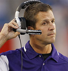 John Harbaugh led the Ravens to a win over New England in his head-coaching debut. (AP)