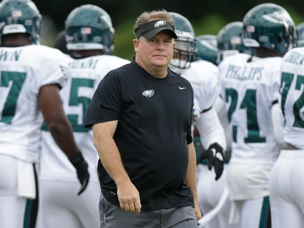 Chip Kelly walks across the field at a joint workout with the New England Patriots during NFL football training camp in Philadelphia, Wednesday, Aug. 7, 2013. (Matt Rourke/AP)