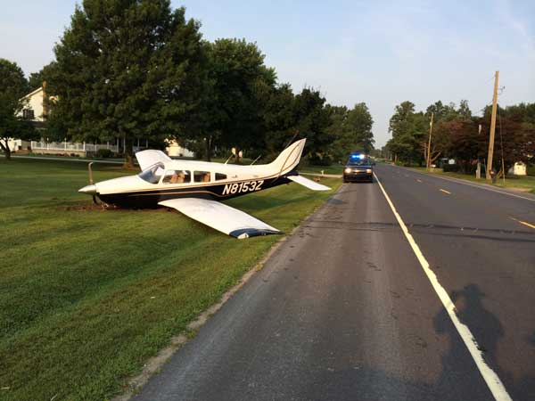 A New Jersey pilot´s plane crashed during a landing at a Delaware airport on Friday, Aug. 8, 2014. (Photo courtesy of Delaware State Police)