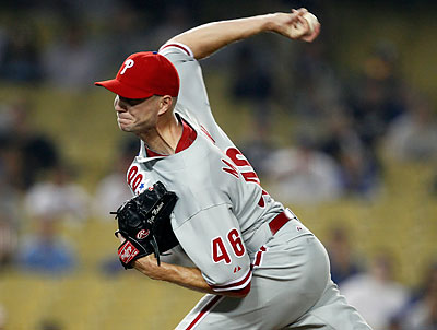 Phillies closer Ryan Madson picked up his 20th save of the season Monday night. (Alex Gallardo/AP)