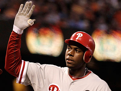 John Mayberry Jr.´s match up favorably to Ryan Howard´s this season. (Ben Margot/AP Photo)