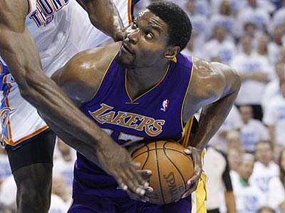 The 76ers are reportedly in trade talks with the Lakers about acquiring Andrew Bynum. (AP file photo)